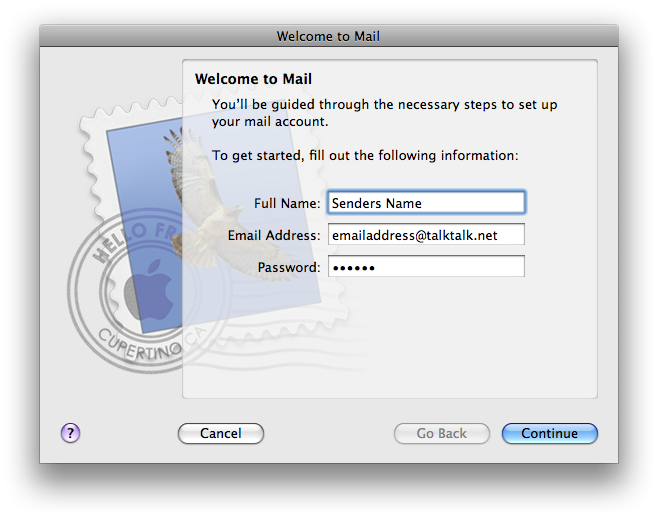 Welcome to Mail screen
