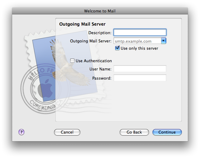 Outgoing Mail Server Screen